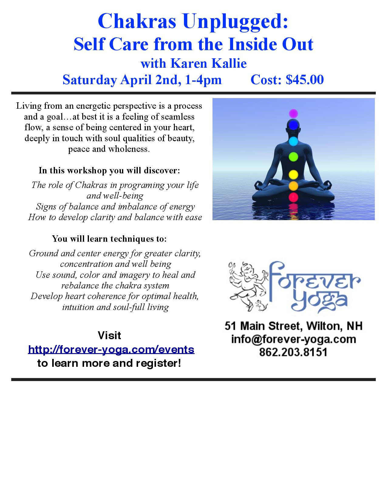 Chakras Unplugged Workshop April 2, 2016 in Wilton, NH