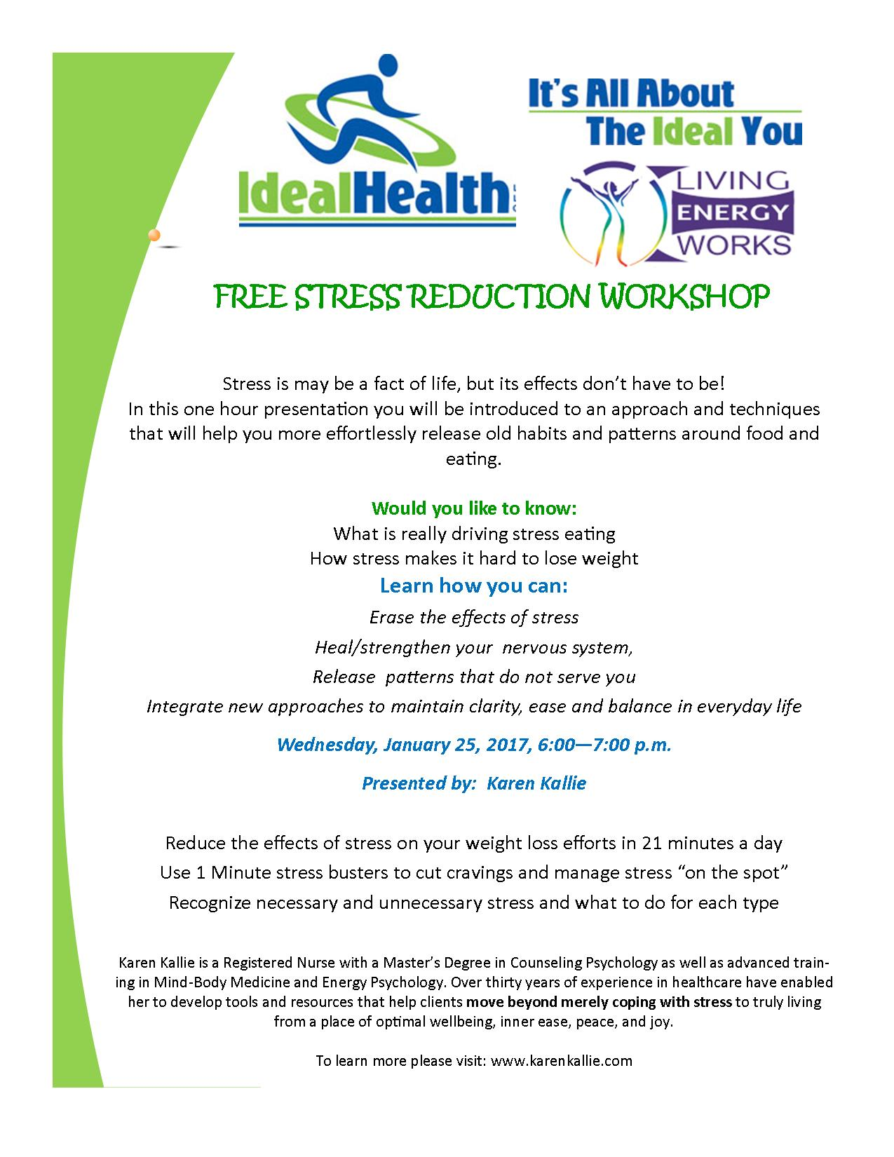 Free Stress Reduction Workshop at Ideal Health