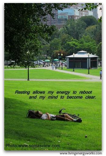 Resting reboots energy and clears the mind